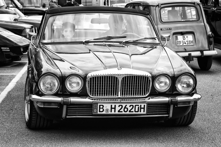 tage: BERLIN - MAY 11  Luxury car Daimler Double-Six  Jaguar XJ , front view  black and white , 26th Oldtimer-Tage Berlin-Brandenburg, May 11, 2013 Berlin, Germany