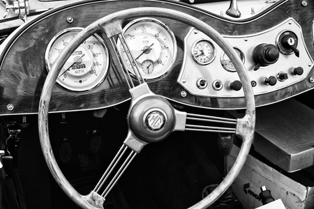 td: BERLIN - MAY 11  Cab Roadster 1951 MG TD Midget  black and white , 26th Oldtimer-Tage Berlin-Brandenburg, May 11, 2013 Berlin, Germany