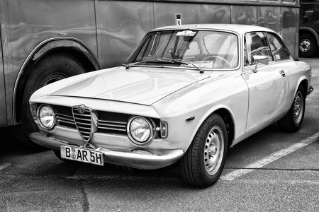 tage: BERLIN - MAY 11: The two-door coupe Alfa Romeo GT 1300 Junior (black and white), 26th Oldtimer-Tage Berlin-Brandenburg, May 11, 2013 Berlin, Germany Editorial