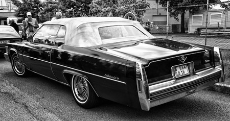 tage: BERLIN - MAY 11: Car Cadillac DeVille Le Cabriolet (black and white), rear view, 26th Oldtimer-Tage Berlin-Brandenburg, May 11, 2013 Berlin, Germany