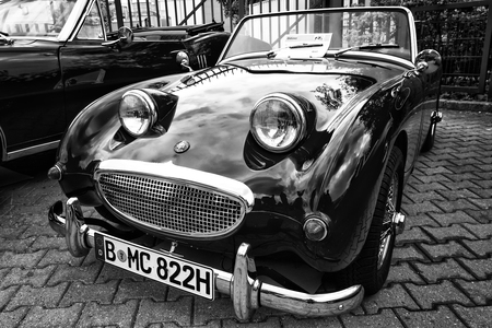 tage: BERLIN - MAY 11: Small open sports car Austin-Healey Sprite (black and white), 26th Oldtimer-Tage Berlin-Brandenburg, May 11, 2013 Berlin, Germany