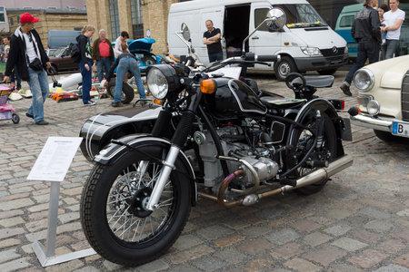 tage: BERLIN - MAY 11: Soviet-Russian heavy motorcycle with sidecar Ural Retro, 26th Oldtimer-Tage Berlin-Brandenburg, May 11, 2013 Berlin, Germany