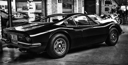 tage: BERLIN - MAY 11: Sports Car Ferrari Dino 246 GTS, rear view (black and white), 26th Oldtimer-Tage Berlin-Brandenburg, May 11, 2013 Berlin, Germany
