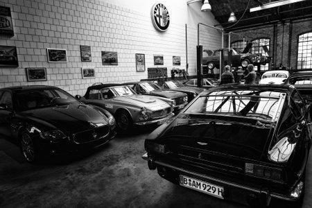tage: BERLIN - MAY 11: The Restoration Workshop Alfa Romeo (black and white), 26th Oldtimer-Tage Berlin-Brandenburg, May 11, 2013 Berlin, Germany Editorial