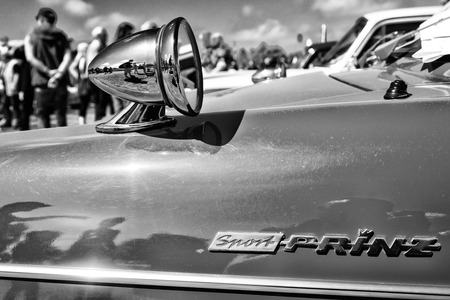 PAAREN IM GLIEN, GERMANY - MAY 19: Detail of a sports coupe NSU Sport-Prinz, black and white, The oldtimer show in MAFZ, May 19, 2013 in Paaren im Glien, Germany