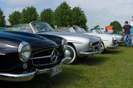 PAAREN IM GLIEN, GERMANY - MAY 19: Several two-door roadster Mercedes-Benz 190SL, The oldtimer show in MAFZ, May 19, 2013 in Paaren im Glien, Germany