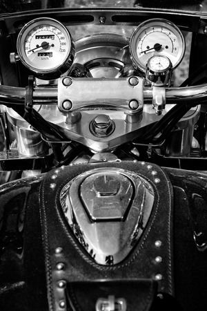 valkyrie: PAAREN IM GLIEN, GERMANY - MAY 19: The dashboard and a fragment of petrol tank motorcycle Honda Valkyrie, black and white, The oldtimer show in MAFZ, May 19, 2013 in Paaren im Glien, Germany