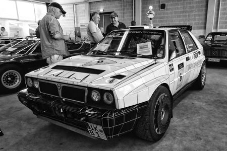 hf: PAAREN IM GLIEN, GERMANY - MAY 19: Sports car Lancia Delta HF Integrale 8V, black and white, The oldtimer show in MAFZ, May 19, 2013 in Paaren im Glien, Germany