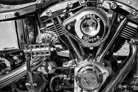 PAAREN IM GLIEN, GERMANY - MAY 19: Motorcycle Engine Harley Davidson Custom Chopper, black and white,
