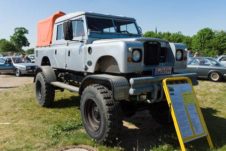 bigfoot: PAAREN IM GLIEN, GERMANY - MAY 19: Off-road Land Rover Defender 109 Bigfoot Monstertruck, The oldtimer show in MAFZ, May 19, 2013 in Paaren im Glien, Germany Editorial