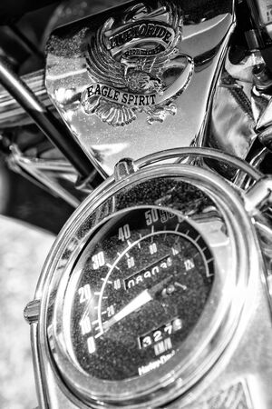 glide: PAAREN IM GLIEN, GERMANY - MAY 19: Detail of the dashboard and fuel tank motorcycle Harley-Davidson Electra Glide Ultra Classic, black and white, The oldtimer show in MAFZ, May 19, 2013 in Paaren im Glien, Germany