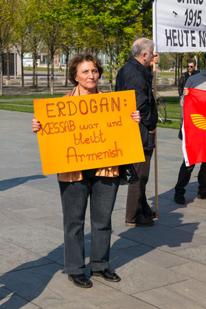 genocide: BERLIN, GERMANY - APRIL 19, 2014: Protest near the residence of the Chancellor of the recognition of the Armenian Genocide by Turkey in the early 20th century in the Ottoman Empire