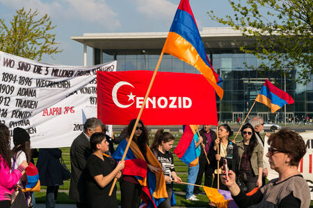 BERLIN, GERMANY - APRIL 19, 2014: Protest near the residence of the Chancellor of the recognition of the Armenian Genocide by Turkey in the early 20th century in the Ottoman Empire