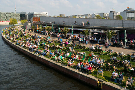BERLIN, GERMANY - APRIL 19, 2014: Restaurant on the embankment Spree. Resting place visitors and residents of Berlin.