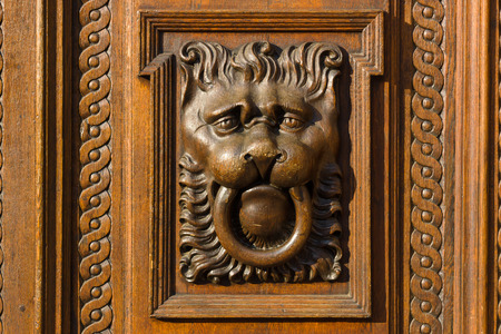 woodcarving: Woodcarving. Decoration vintage gate of the Old Town Hall. Prague.  Stock Photo
