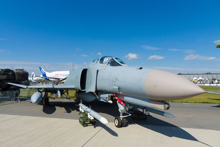 BERLIN - SEPTEMBER 14: The McDonnell Douglas F-4 Phantom II is a long-range supersonic jet interceptor fighter, International Aerospace Exhibition ILA Berlin Air Show, September 14, 2012 in Berlin, Germany