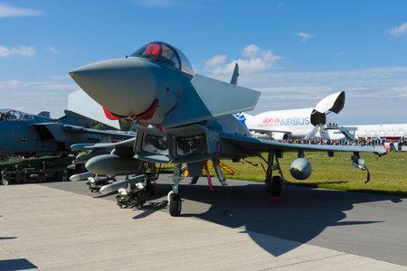 BERLIN - SEPTEMBER 14: The Eurofighter Typhoon is a twin-engine, canard-delta wing, multirole fighter, International Aerospace Exhibition ILA Berlin Air Show, September 14, 2012 in Berlin, Germany