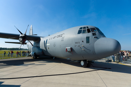 lockheed martin: BERLIN - SEPTEMBER 14: The Lockheed Martin C-130J Super Hercules is a four-engine turboprop military transport aircraft, International Aerospace Exhibition ILA Berlin Air Show, September 14, 2012 in Berlin, Germany