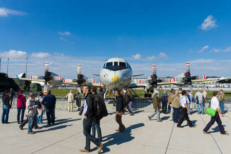 turboprop: BERLIN - SEPTEMBER 14: Lockheed P-3 Orion is a four-engine turboprop anti-submarine and maritime surveillance aircraft, International Aerospace Exhibition ILA Berlin Air Show, September 14, 2012 in Berlin, Germany