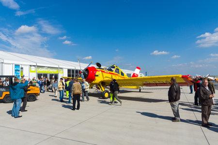 luft: BERLIN - SEPTEMBER 14: Polish agricultural aircraft PZL-106 Kruk, International Aerospace Exhibition ILA Berlin Air Show, September 14, 2012 in Berlin, Germany Editorial