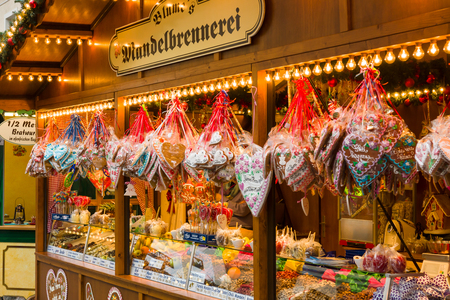 POTSDAM, GERMANY - DECEMBER 10, 2013: Christmas market in the old town of Potsdam. Selling traditional sweets and gingerbread.