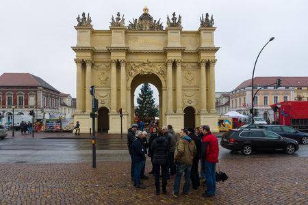 POTSDAM, GERMANY - DECEMBER 10, 2013: Brandenburg Gate (Potsdam). At 18 years older than the famous Brandenburg Gate in Berlin