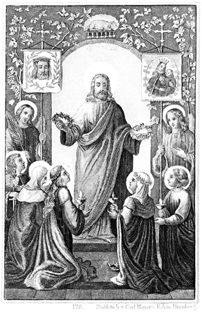 Blessed are the Pure in Heart  Steel engraving of Carl Mayer  Book of Psalms  Germany, circa 1893