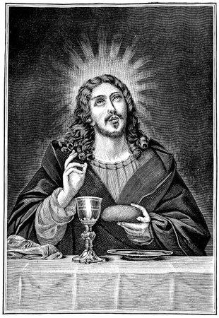 eucharistie: Cène Livre des Psaumes Allemagne, vers 1894 Éditoriale