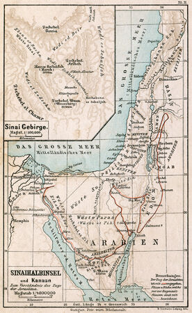 Map of Sinai Peninsula  The route of exodus of Jews from Egypt  The Bible  Germany, circa 1895