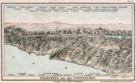 ancient near east: Map of Palestine with the bird s-eye view  The Bible  Germany, circa 1895 Editorial