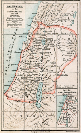 palestine: Map of Palestine the time of Jesus Christ and the Apostles  The Bible  Germany, circa 1895 Editorial
