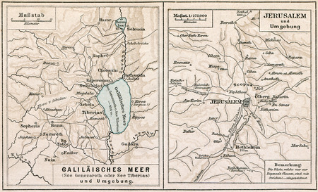 galilee: Map of Sea of Galilee and Jerusalem, with the surroundings  The Bible  Germany, circa 1895 Editorial