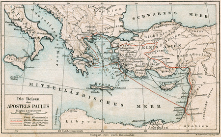 missionary: Travel Map of St  Paul  The Bible  Germany, circa 1895