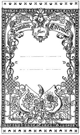Frame met een mooi sieraad Family Chronicles Boek der Psalmen Duitsland, circa 1893 Stock Illustratie