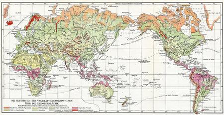 Map the distribution of vegetation on Earth  Publication of the book  Meyers Konversations-Lexikon , Volume 7, Leipzig, Germany, 1910 Stock Photo - 28164887
