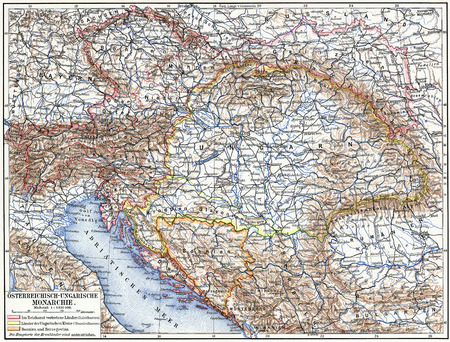 Map of Austro-Hungarian monarchy  Publication of the book  Meyers Konversations-Lexikon , Volume 7, Leipzig, Germany, 1910 Editorial