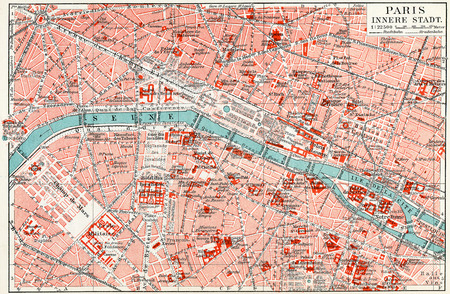 Map of central Paris  Publication of the book  Meyers Konversations-Lexikon , Volume 7, Leipzig, Germany, 1910