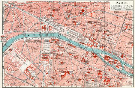 Map of central Paris  Publication of the book  Meyers Konversations-Lexikon , Volume 7, Leipzig, Germany, 1910