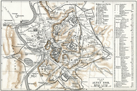Map of Ancient Rome  Publication of the book  Meyers Konversations-Lexikon , Volume 7, Leipzig, Germany, 1910