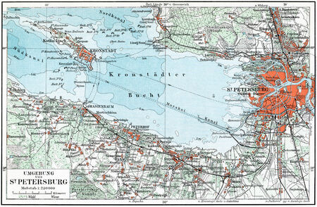 Map of St  Petersburg and the surrounding area, Kronstadt and the Gulf of Finland  Publication of the book  Meyers Konversations-Lexikon , Volume 7, Leipzig, Germany, circa 1910