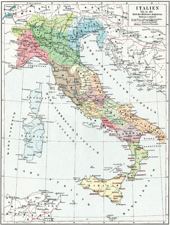 Map of Italy, the time of Emperor Augustus  Publication of the book  Meyers Konversations-Lexik on , Volume 7, Leipzig, Germany, 1910