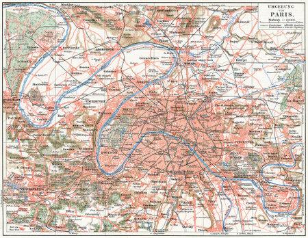 パリと郊外ボリューム 7、ドイツのライプツィヒでマイヤーズ Konversations Lexik 本の出版物 1910年の地図 報道画像