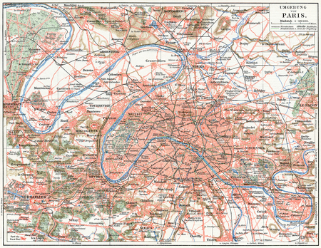 Map of Paris and the suburbs  Publication of the book  Meyers Konversations-Lexik on , Volume 7, Leipzig, Germany, 1910
