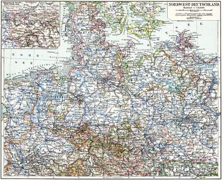 Map Of The NorthWest Germany Publication Of The Book Meyers Stock