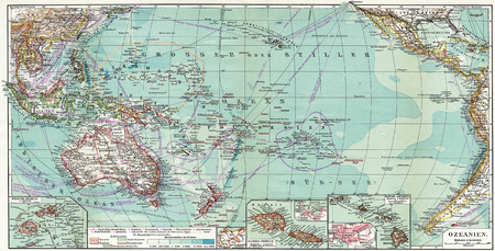 Map of Australia and Oceania  Publication of the book  Meyers Konversations-Lexikon , Volume 7, Leipzig, Germany, 1910