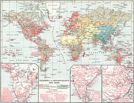 vintage world map: Map of the spread of major religions in the world  Missionary Map  Publication of the book  Meyers Konversations-Lexikon , Volume 7, Leipzig, Germany, 1910