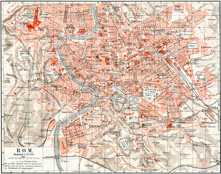 Map of Rome  Publication of the book  Meyers Konversations-Lexikon , Volume 7, Leipzig, Germany, 1910