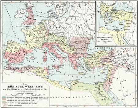 Kaart van het Romeinse Rijk, de 2e eeuw na Christus Publicatie van het boek Meyers Konversations-Lexikon, Volume 7, Leipzig, Duitsland, 1910