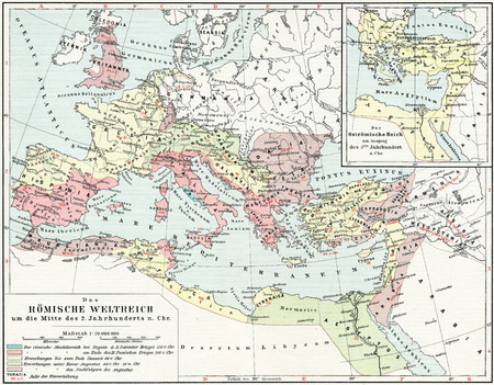 Map of the Roman Empire, 2nd century AD  Publication of the book  Meyers Konversations-Lexikon , Volume 7, Leipzig, Germany, 1910