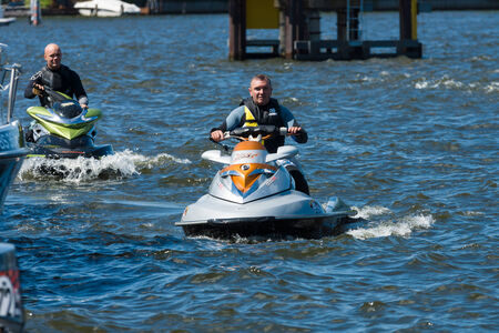 impeller: BERLIN, GERMANY - MAY 03, 2014: Demonstration rides on a water scooter. 2nd Berlin water sports festival in Gruenau